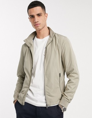 Selected zip through bomber jacket in stone