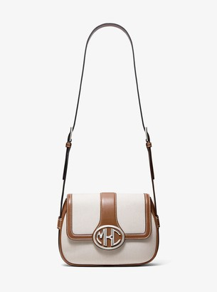 Michael Kors Monogramme Cotton Canvas and Leather Shoulder Bag