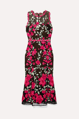 Marchesa Embroidered Guipure Lace And Tulle Midi Dress - Black