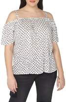 Evans Print Off the Shoulder Top (Plus Size)