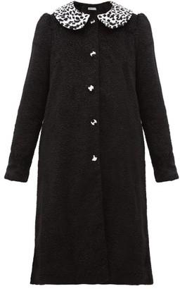 Batsheva Leopard-print Peter Pan Collar Faux-fur Coat - Black White