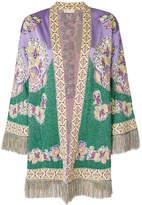 Etro fringe trim patterned cardigan