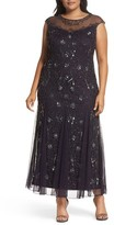 Pisarro Nights Plus Size Women's Embellished Mesh Godet Gown