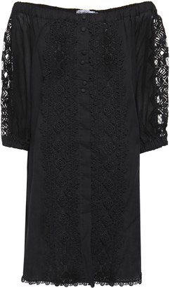 Charo Ruiz Ibiza Off-the-shoulder Crocheted Lace-paneled Cotton-blend Voile Mini Dress
