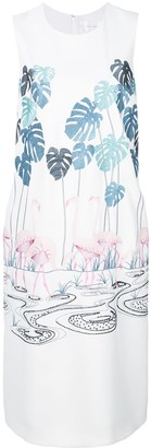 Victoria Victoria Beckham Flamingo Embroidered Shift Dress