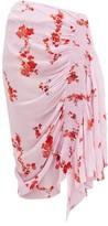 Preen Line Mertilda Floral-print Ruched Skirt - Womens - Pink Multi