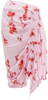 Preen Line Mertilda Floral-print Ruched Skirt - Womens - Pink Multi