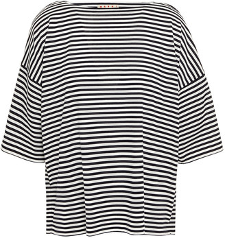 Marni Appliqued Striped Cotton-jersey T-shirt