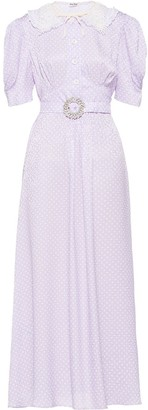 Miu Miu Polka-Dot Jacquard Long Dress
