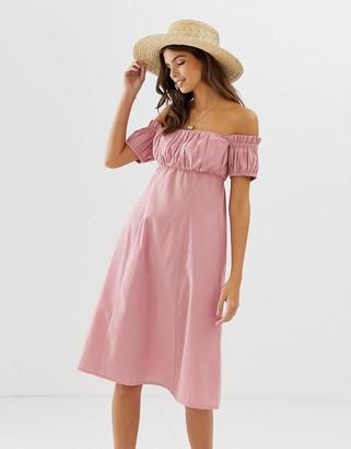 Asos Design DESIGN off shoulder midi sundress with ruched bust-Pink
