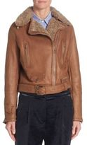 Brunello Cucinelli Shearling Leather Moto Jacket
