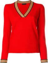 Etro contrast V-neck jumper