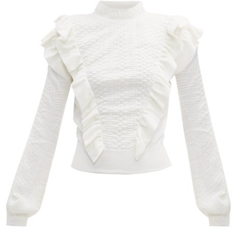c4873a12 Ruffle Trimmed Wool Sweater - Womens - Ivory