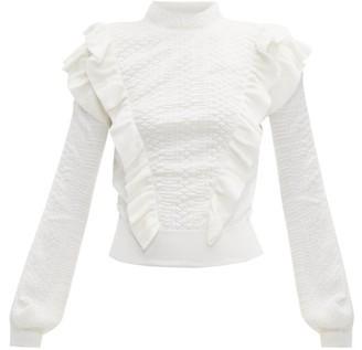 Chloé Ruffle-trimmed Wool Sweater - Womens - Ivory