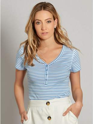 M&Co Stripe button front t-shirt