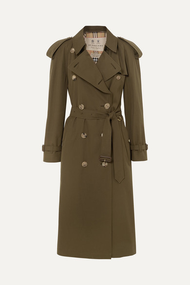 Burberry The Westminster Long Cotton-gabardine Trench Coat - Army green