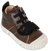 Ocra Leather Sneakers With Moustache Patch