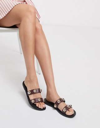 ASOS DESIGN Fleeting leather hardwear sandal in burgundy