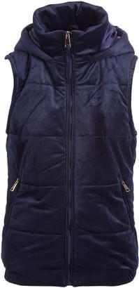 Gingerly Women's Outerwear Vests Navy - Navy Velvet Puffer Vest - Women