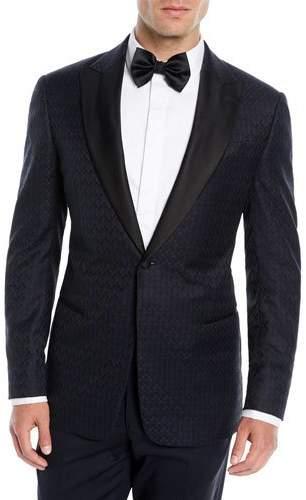 Emporio Armani Men's Tonal Geometric Wool Dinner Jacket