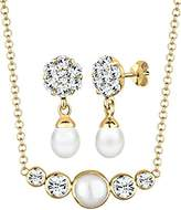 Perlu Women's Jewellery Set 925 Sterling Silver with Swarovski Crystals 45 CM White 0909160313_45