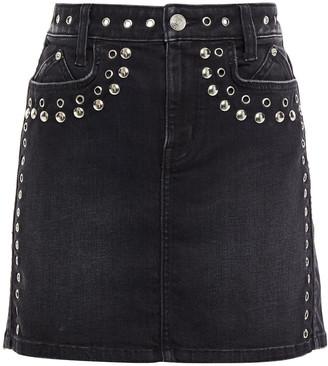 Current/Elliott The 7-pocket Eyelet-embellished Studded Mini Skirt