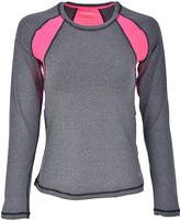 Therapy Gray & Pink Mesh-Panel Long-Sleeve Tee