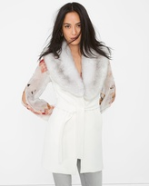 White House Black Market Faux Fur-Collar Wrap Vest
