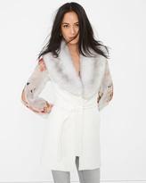 White House Black Market Faux Fur-Collar Wrap Vest