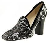 Les Trois Garçons Payel Navy Wanda+dri Women Square Toe Sequin Black Heels.