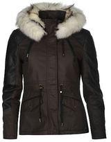 Firetrap Womens Blackseal Short Parka Jacket Coat Top Cotton Hooded Zip Fur Trim