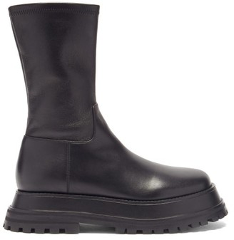 Burberry Hurr Exaggerated-sole Leather Ankle Boots - Black