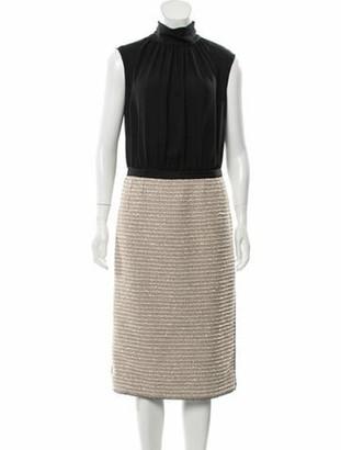 Oscar de la Renta Silk Sleeveless Dress Black