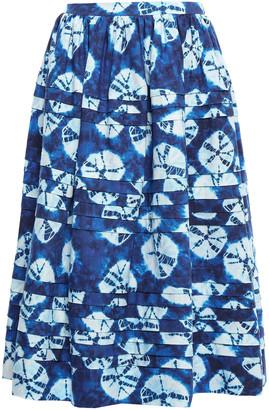 Stella Jean Pleated Cotton-canvas Midi Skirt