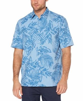 Cubavera Big & Tall Chambray Tropical Print Shirt