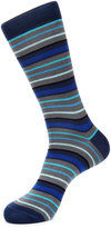 Jared Lang Stripe-Print Cotton-Blend Socks, Gray