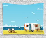 Ambesonne Seaside Decor Collection, Illustration of Summertime Caravan Coastline Clouds Seagulls Scenery Print, Bedroom Living Room Dorm Wall Hanging Tapestry, 60 X 40 Inches, Aqua Navy Yellow