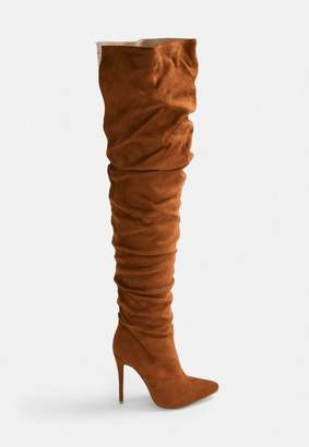 Missguided Rust Faux Suede Long Slit Ruched Thigh High Boot