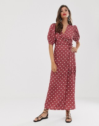 Vila wrap midi dress in spot print-Red