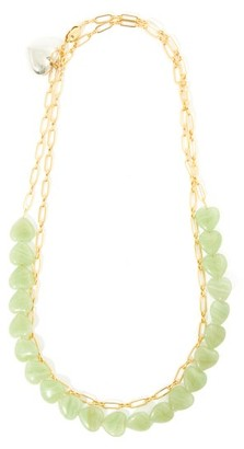 Timeless Pearly Heart-charm 24kt Gold-plated Choker Necklace - Green Multi