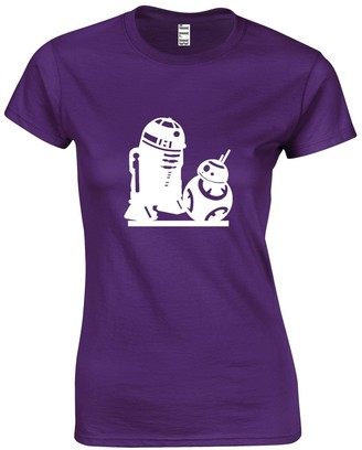 JLB Print R2D2 and BB-8 Droids Silhouette Sci Fi Movie Film Inspired Premium Quality Fitted T-Shirt Top for Women and Teens Hot Pink
