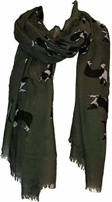 FUREVER GIFTS New Border Collie Dog Print Womens Scarf Shawl Lightweight Green Adorable Gift