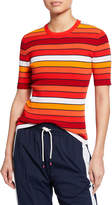 Tory Sport Tech Knit Striped Short-Sleeve Sweater
