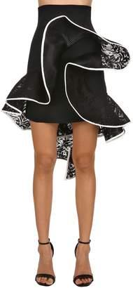 David Koma High Waist Ruffled Lace & Cady Skirt