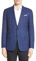 Armani Collezioni Men's G-Line Trim Fit Windowpane Wool Sport Coat