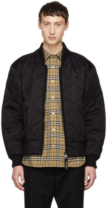 Burberry Black Quilted Brentbury Bomber Jacket