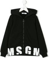 MSGM logo zip hooded sweatshirt