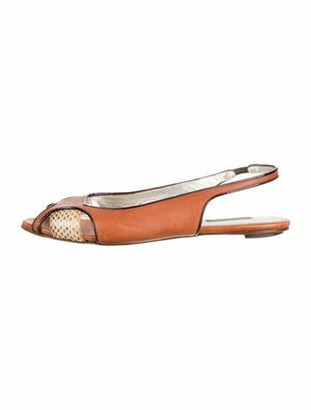 Dolce & Gabbana Leather Peep-Toe Ballet Flats Brown