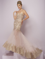 Tiffany Designs - 46096 Strapless Metallic Lace Mermaid Gown