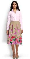 Classic Women's Petite Full Midi Skirt-Champagne Marin Border Print